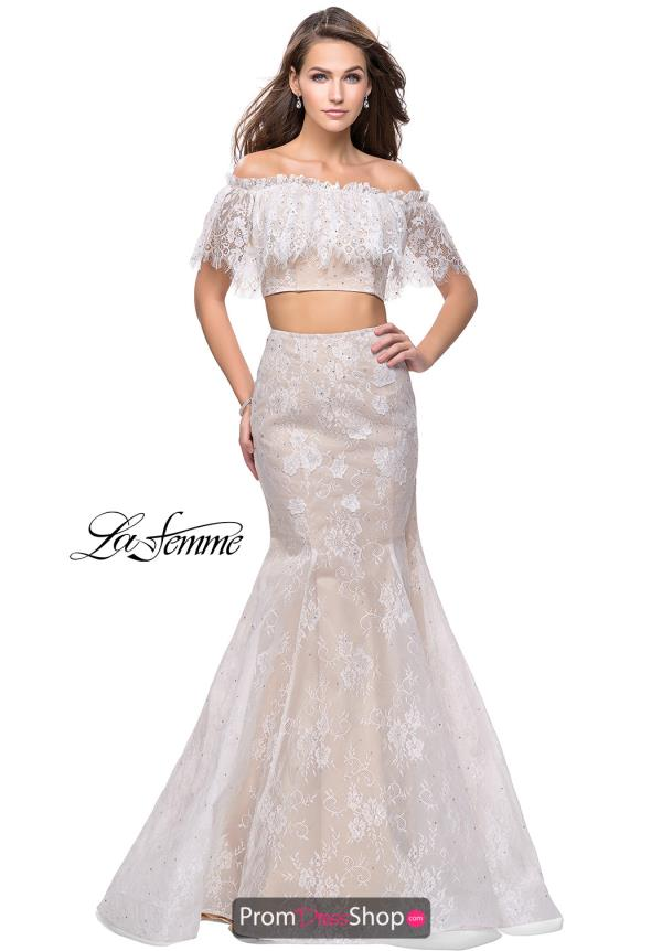La Femme Lace Two Piece Dress 25412
