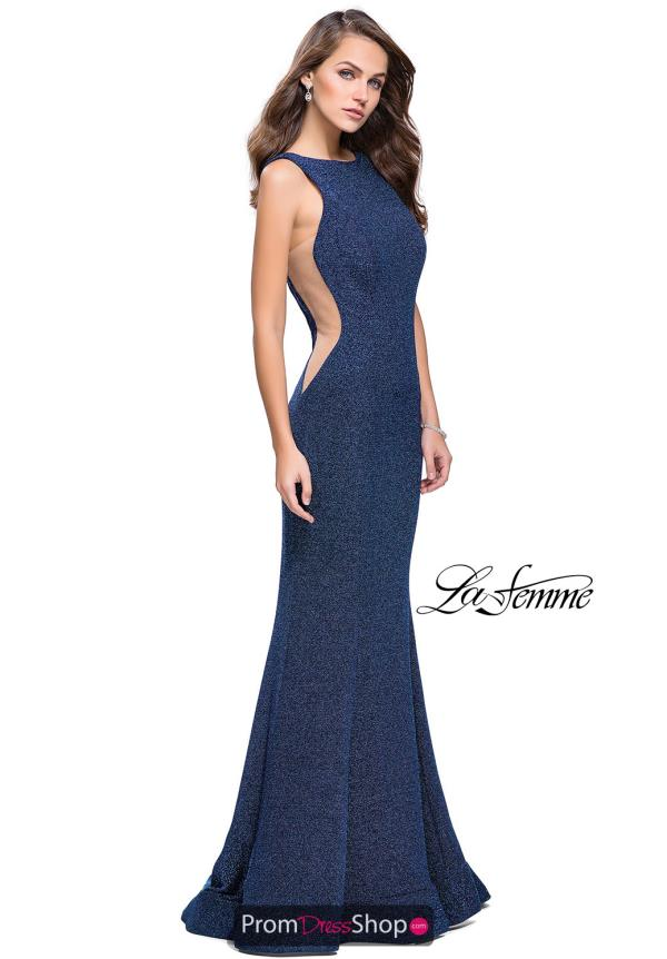La Femme High Neckline Fitted Dress 25421