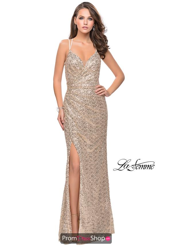La Femme Sexy Back Fitted Dress 25492