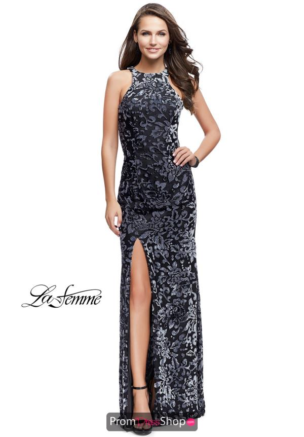 La Femme Sexy Back Fitted Dress 25512