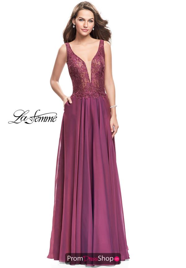 La Femme Beaded Chiffon Dress 25513