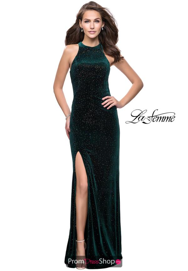 La Femme High Neckline Velvet Dress 25517