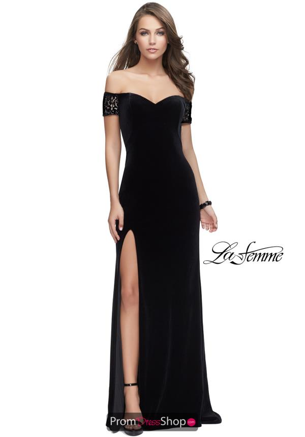 La Femme Velvet Fitted Dress 25554