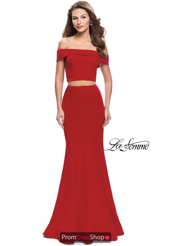 La Femme Off the Shoulder Fitted Dress 25578