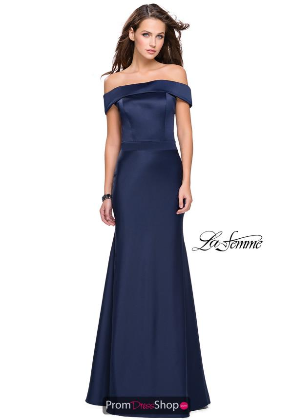 La Femme Cap Sleeve Satin Dress 25579