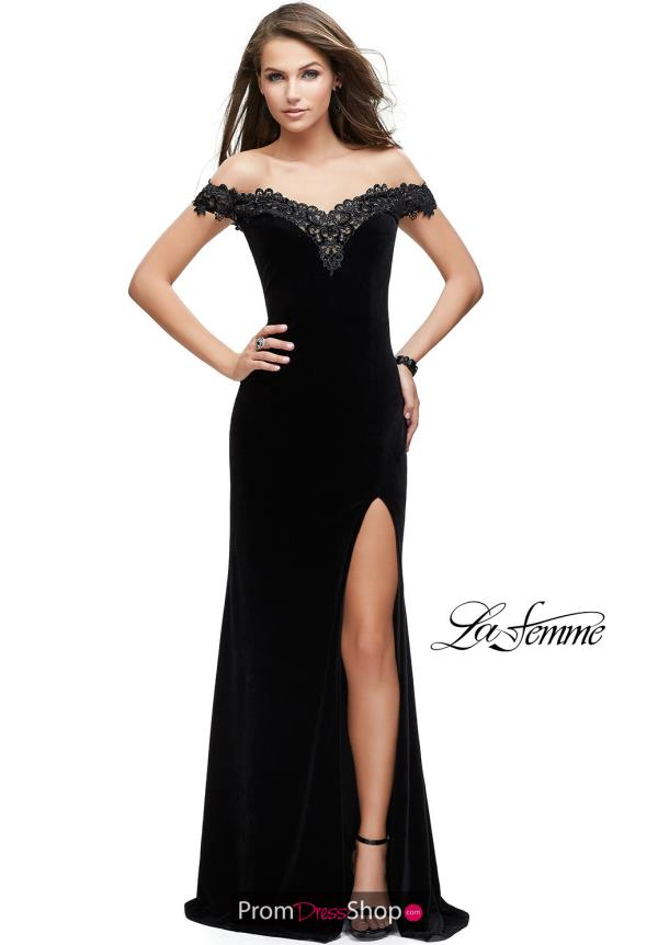 La Femme Off the Shoulder Fitted Dress 25591