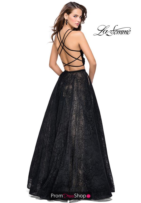 La Femme Two Piece Halter Dress 25592