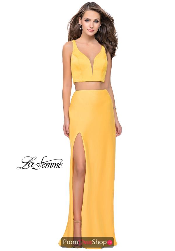 La Femme Fitted V-Neck Dress 25599