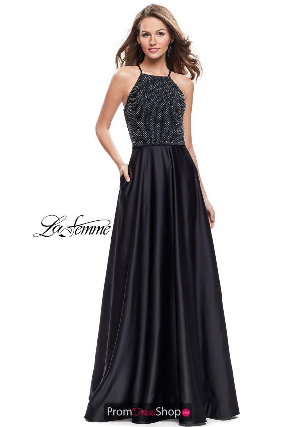 La Femme Halter Full Figured Dress 25601