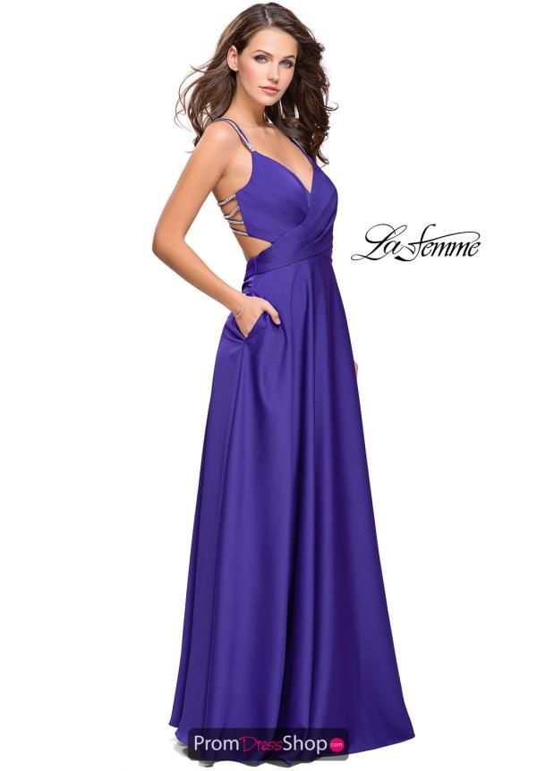 La Femme Open Back A Line Dress 25611