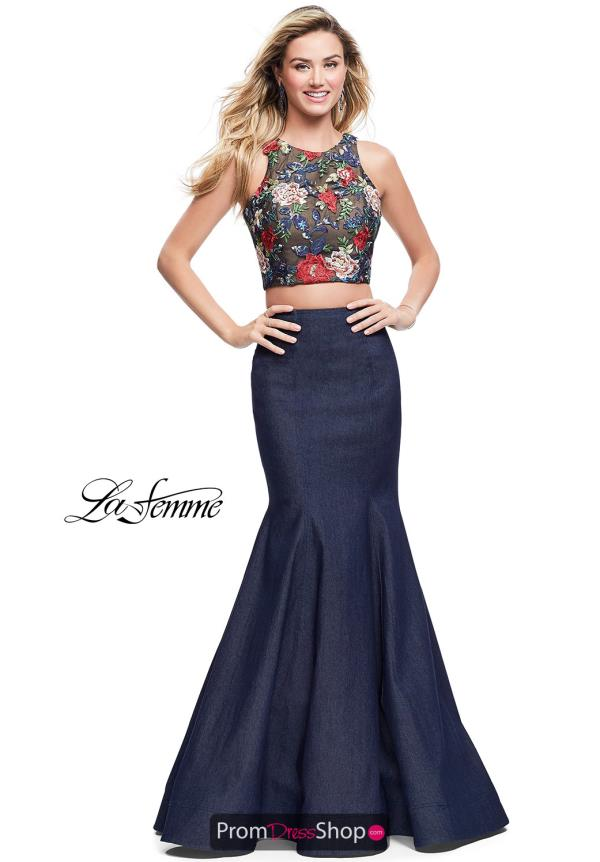 La Femme Applique Mermaid Dress 25614