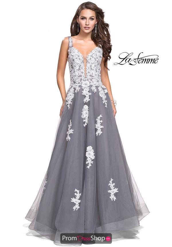 La Femme Long Lace Dress 25624