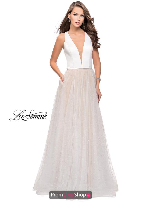 La Femme Tulle Skirt A Line Dress 25630