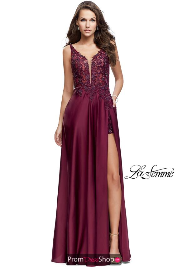 La Femme Long Lace Dress 25645