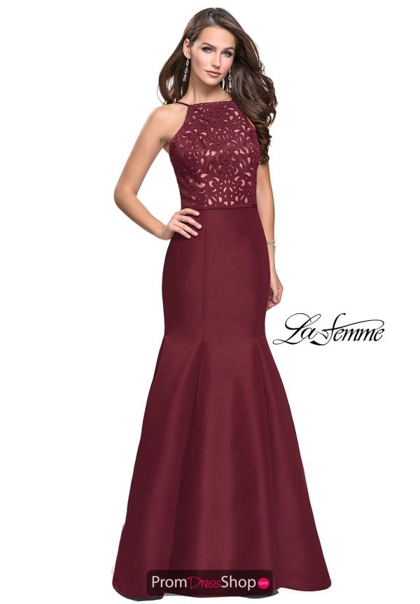 La Femme High Neckline Mermaid Dress 25650