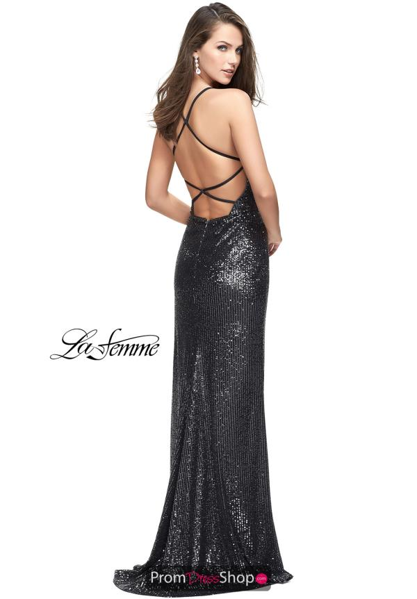 La Femme Open Back Sequins Dress 25661