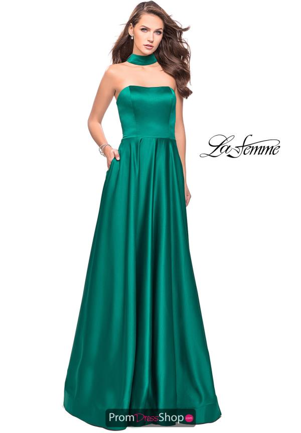 La Femme Long Strapless Dress 25680