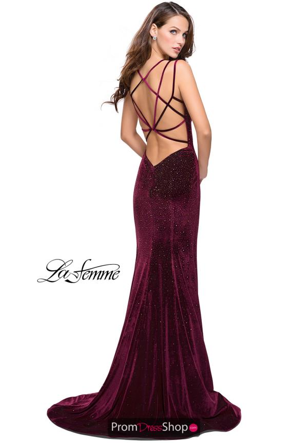 La Femme Open Back Fitted Dress 25681
