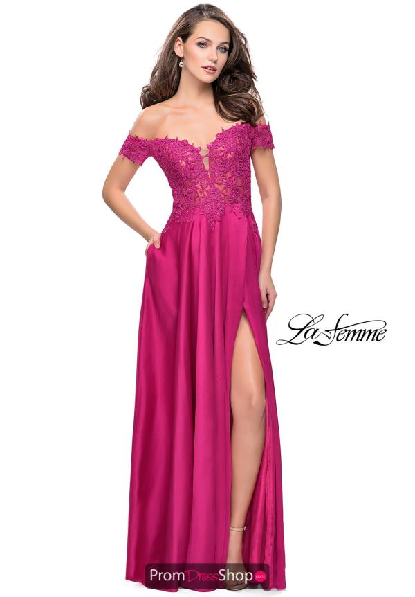 La Femme Long Satin Dress 25694