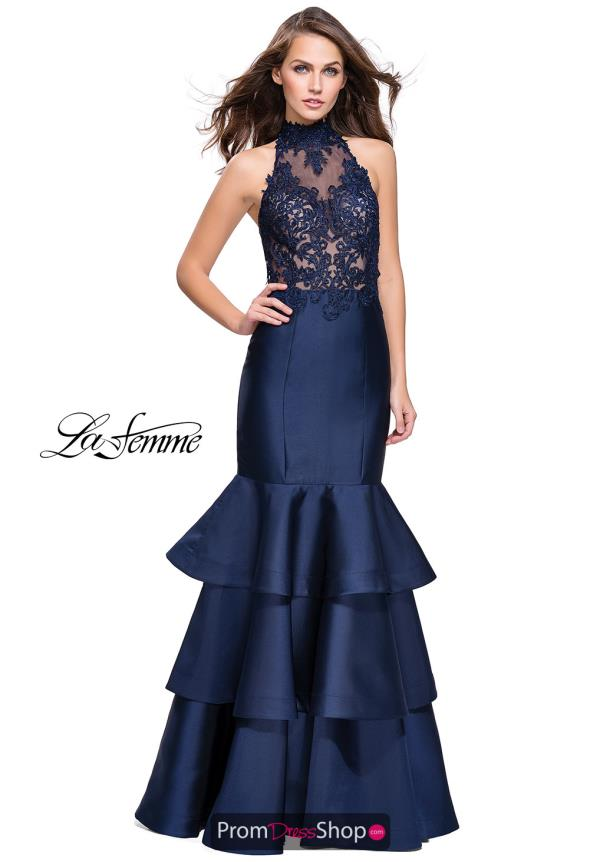 La Femme Ruffled Skirt Mermaid Dress 25707
