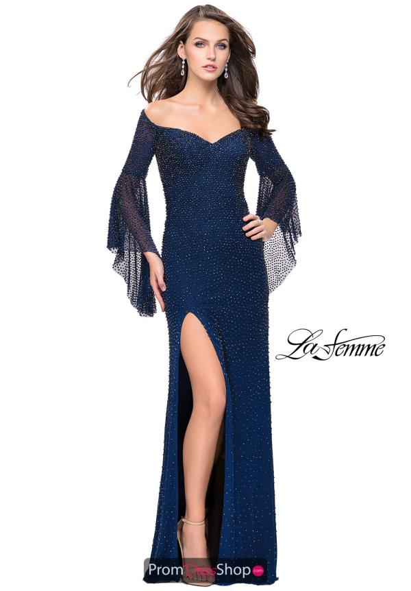 La Femme Long Sleeved Beaded Dress 25717