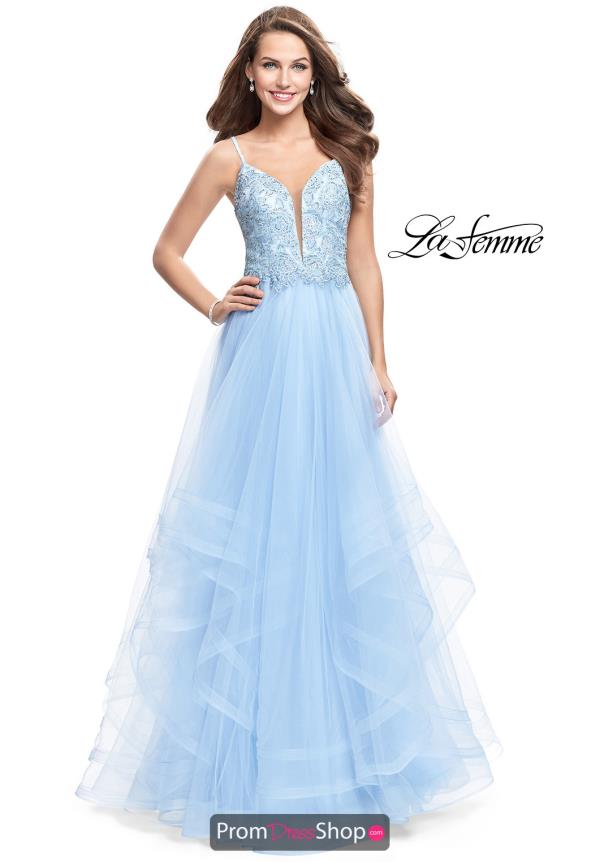 La Femme Long Lace Dress 25762