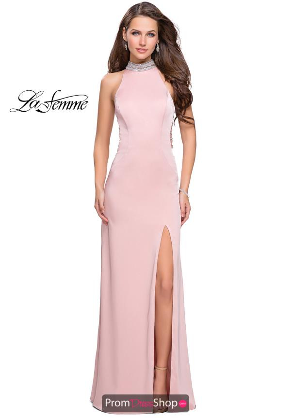 La Femme Fitted Jersey Dress 25767