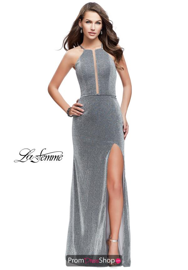 La Femme Long Fitted Dress 25769