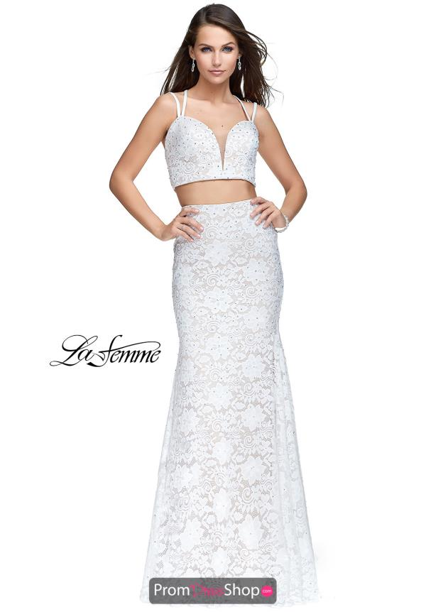 La Femme Long Lace Dress 25771