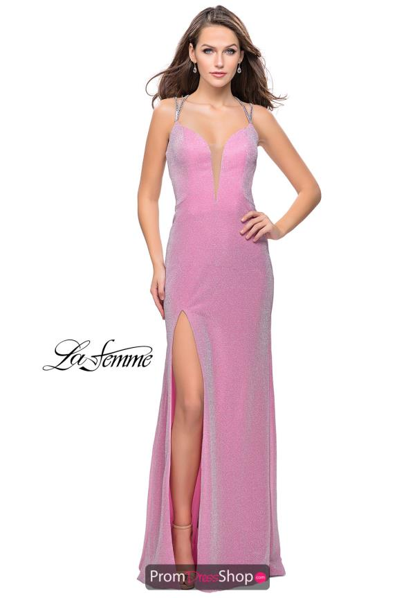 La Femme Long Jersey Dress 25812