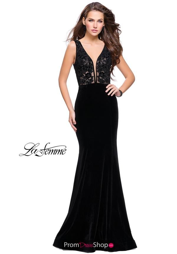 La Femme Long Velvet Dress 25824