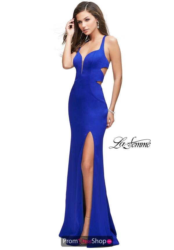 La Femme Long Fitted Dress 25853