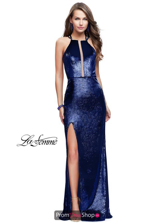 La Femme High Neckline Fitted Dress 25861