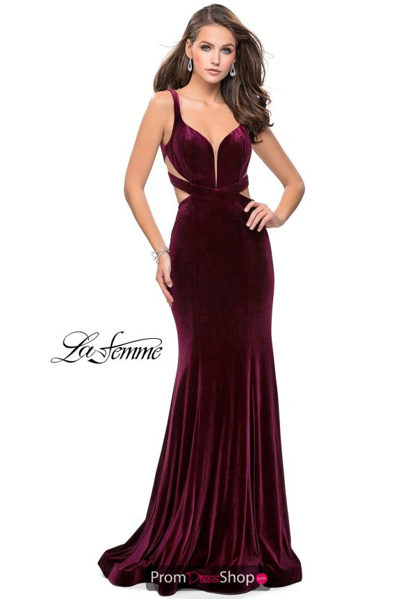 La Femme Fitted Velvet Dress 25866