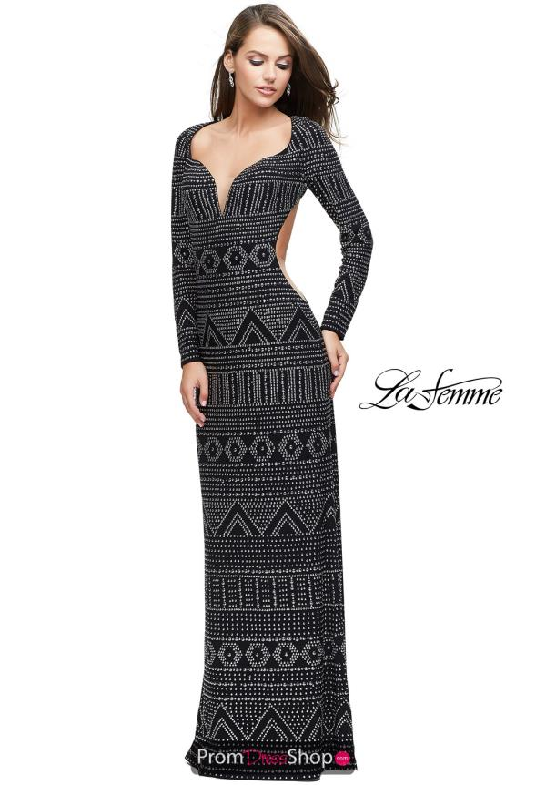 La Femme Beaded Long Dress 25872