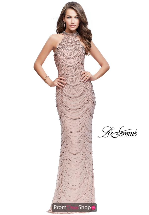 La Femme High Neckline Beaded Dress 25930
