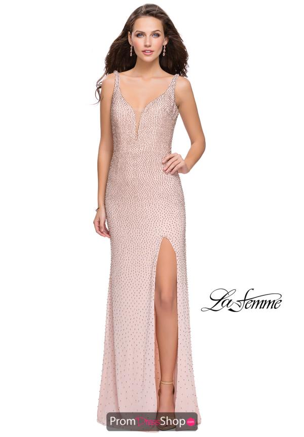 La Femme V- Neckline Fitted Dress 25931
