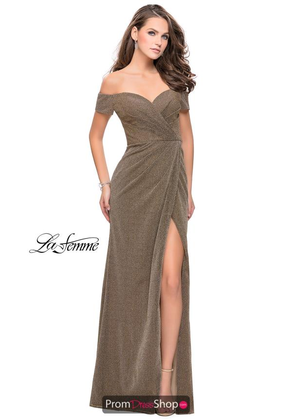 La Femme Long Fitted Dress 25955