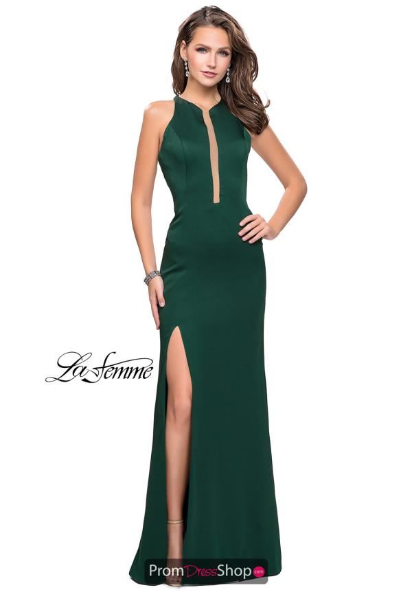 La Femme Long Satin Dress 25962