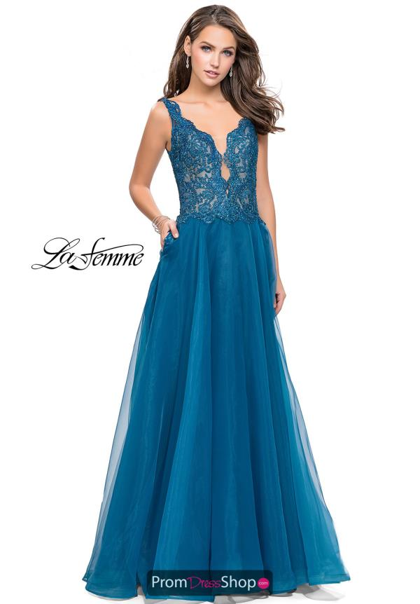 La Femme Long Lace Dress 25970