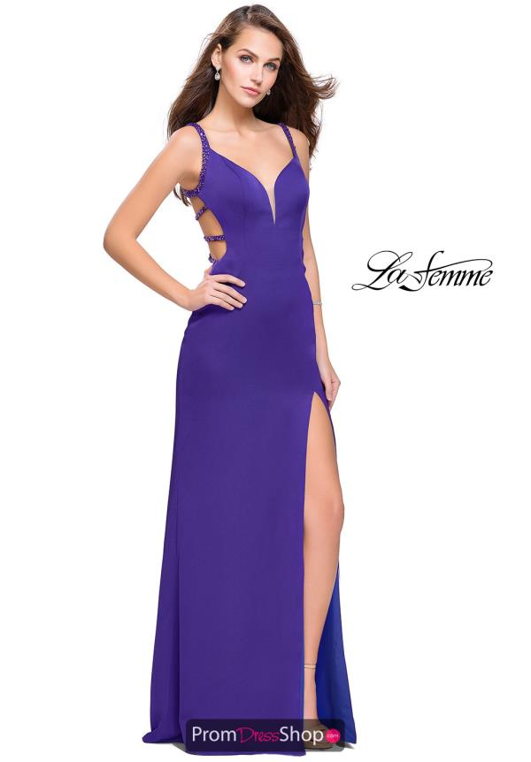 La Femme Long Satin Dress 26012
