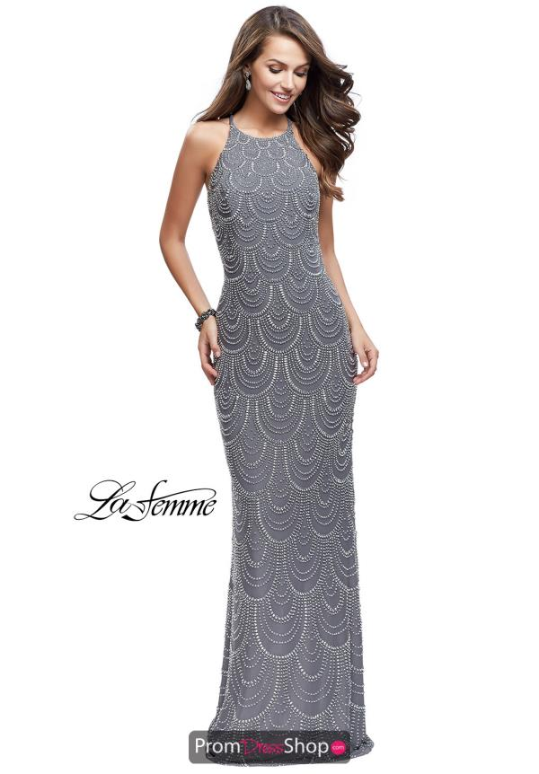 La Femme Long Beaded Dress 26030