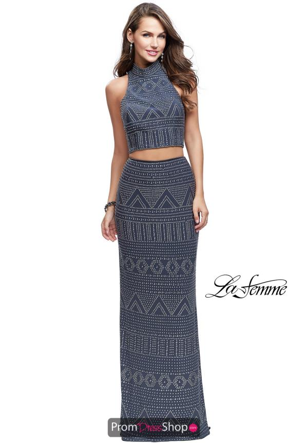 La Femme Long Beaded Dress 26045