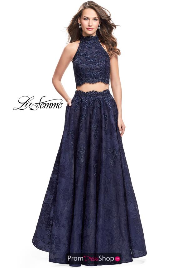 La Femme Long Lace Dress 26103