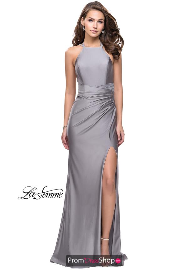 La Femme High Neckline Fitted Dress 26141