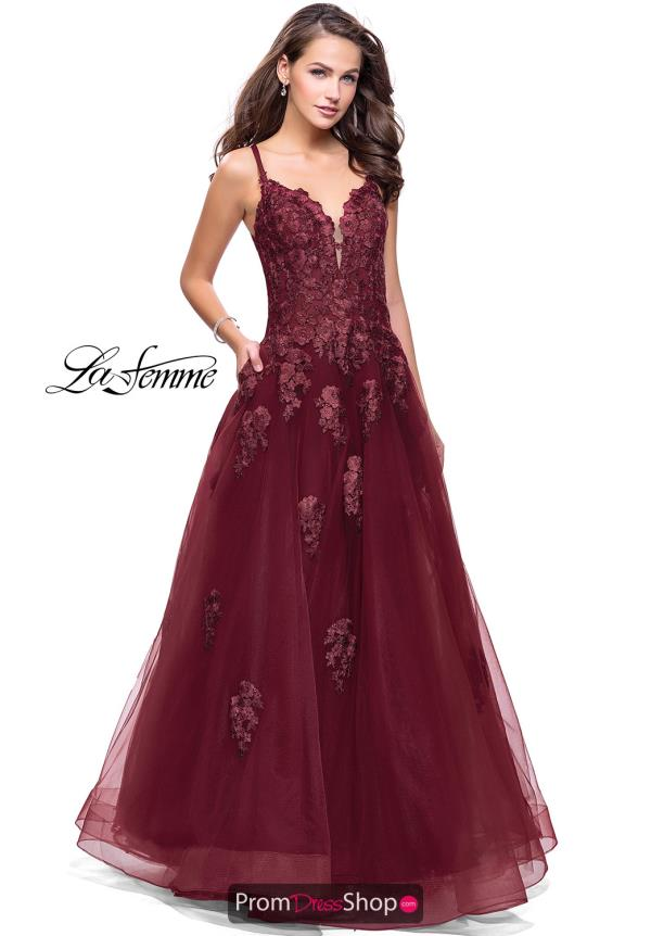 La Femme Long Lace Dress 26236