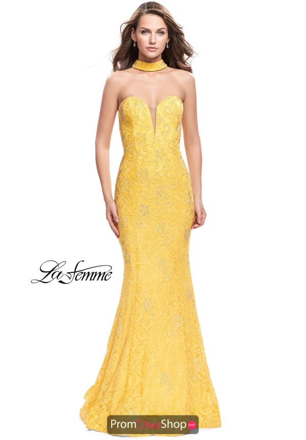 La Femme Strapless Fitted Dress 26261