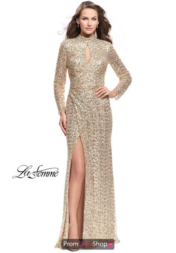 La Femme Long Sleeved Fitted Dress 26263