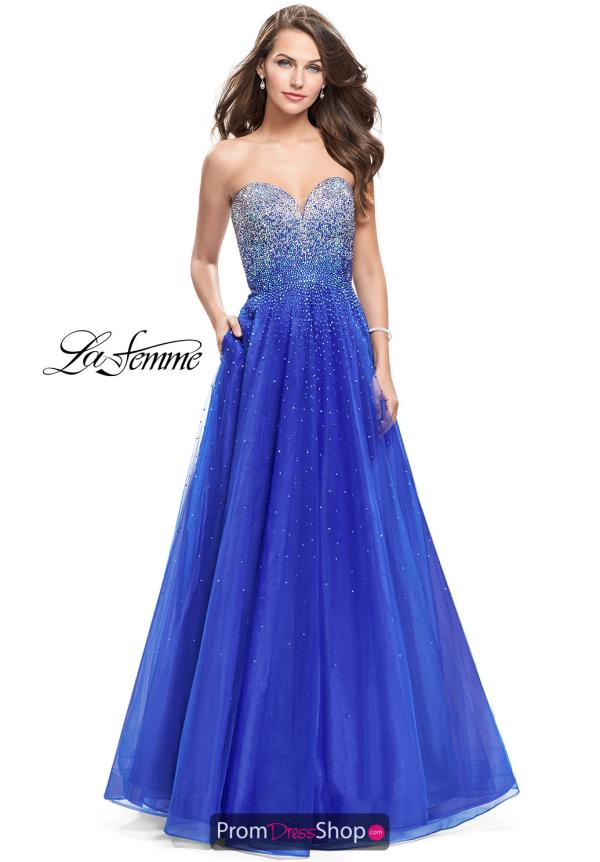 La Femme Beaded A Line Dress 26264