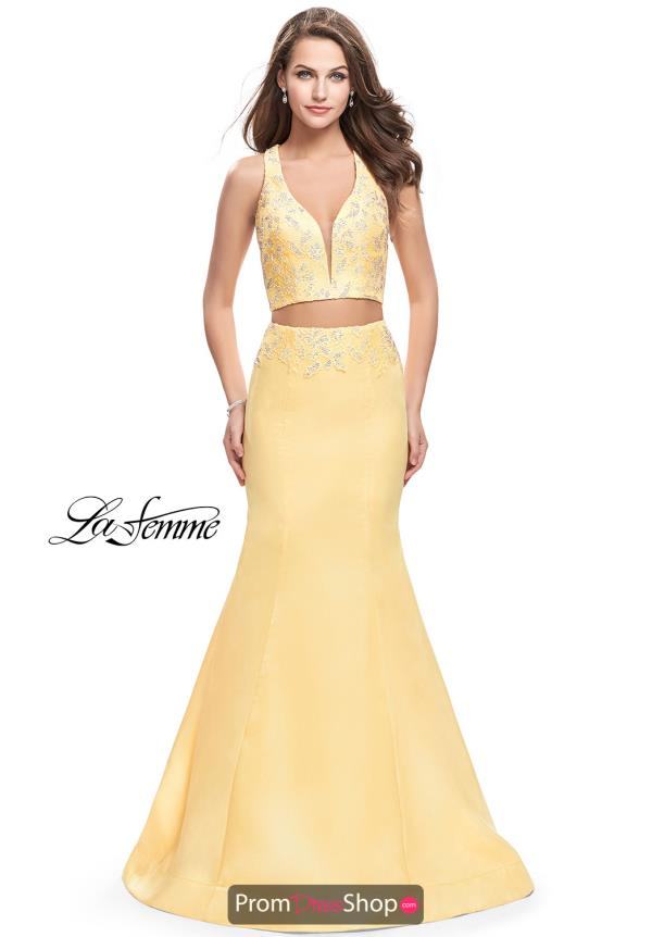 La Femme Yellow Fitted Dress 26311